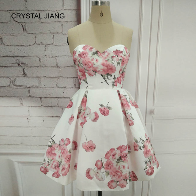 CRYSTAL JIANG Cocktail Dresses 2018 Simple Design Sweetheart Vestido Coctel White Floral Printed Natural Waist Short Party Gown