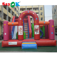 Commercial dual inflatable slide n slip with obstacle course, inflatable bouncer jumper outdoor playground games