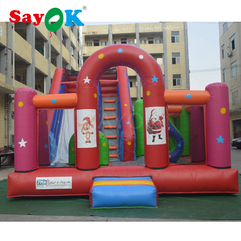 Commercial dual inflatable slide n slip with obstacle course, inflatable bouncer jumper outdoor playground games super funny elephant shape inflatable games kids slide toy for outdoor