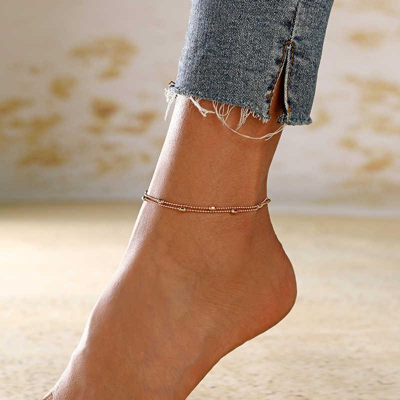 XIYANIKE פשוט גיאומטרי חרוזים צמיד זהב כסף צבע רגל תכשיטי קיץ חוף על רגל קרסול צמידי לנשים רגל שרשרת