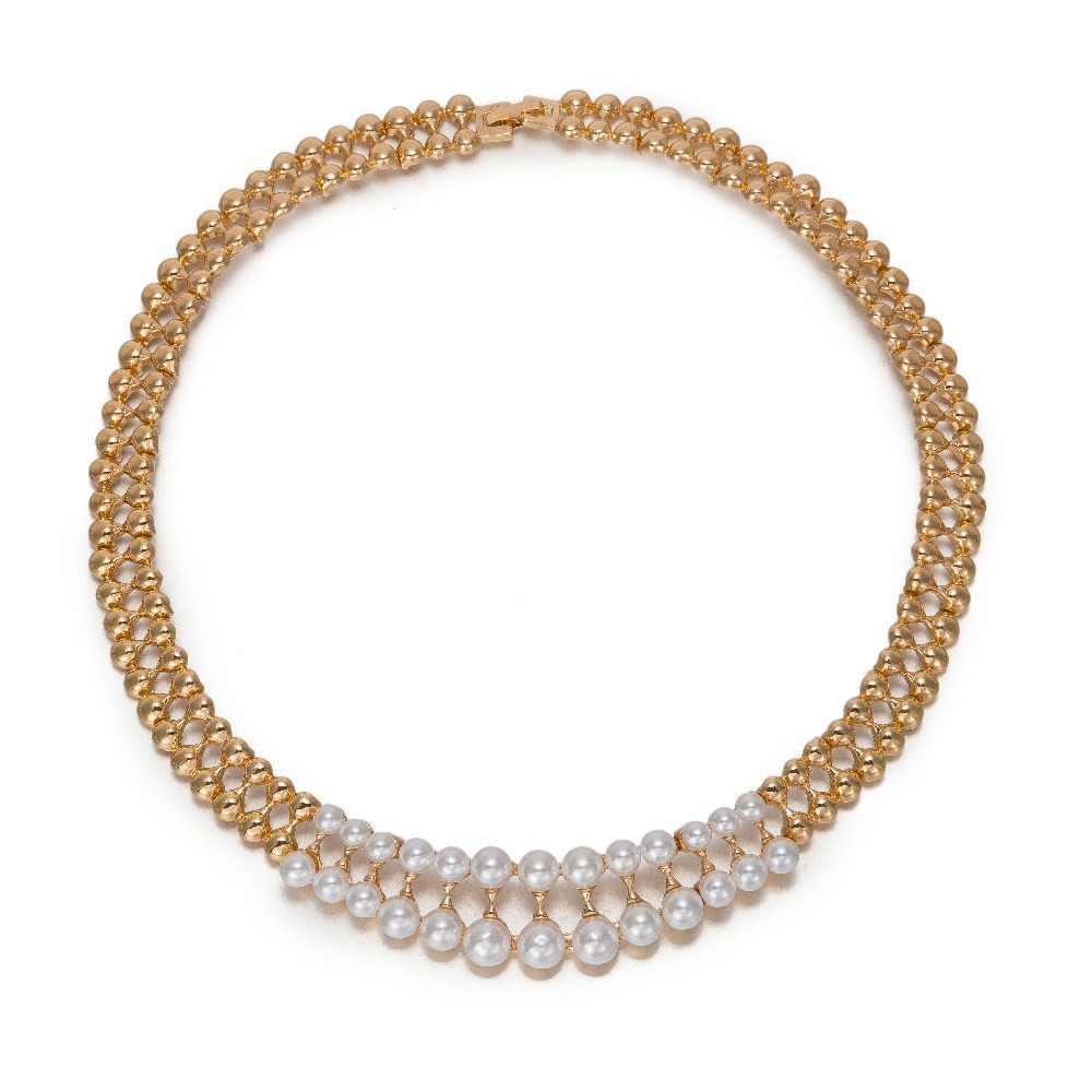 Conjuntos de joyas de perlas africanas a la moda de BAUS, conjunto de collar de Color dorado para boda, accesorios para pendientes de anillo de novia a la moda para mujer