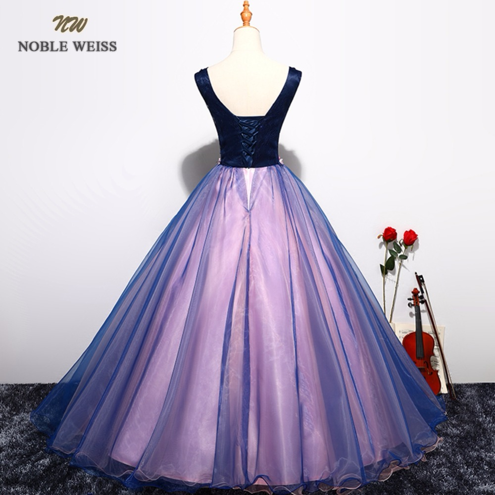 NOBLE WEISS Sexy Purple Prom Dresses V Neck Appliques Beading Flower Lace Robe De Soiree Ball Gown Organza Bare Back Prom Dress-in Prom Dresses from Weddings & Events    2