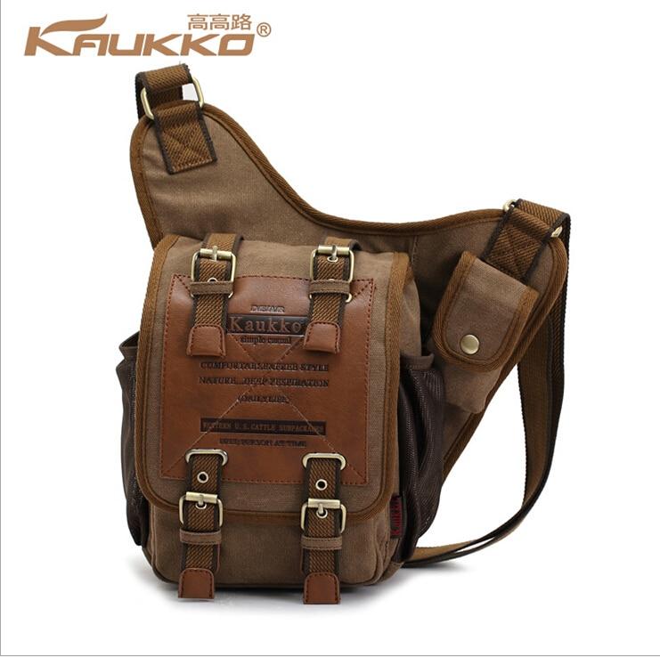 KAUKKO Canvas Men Boys Classical Single Messenger Shoulder Cross Body Bag (8.27x3.54x10.24inch) With Durable Strap - Dark Khaki
