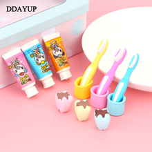 4Pcs/set Creative Toothpaste tooth brush cup Eraser For Kids Gift Cleaner Material Stationery School Supplies
