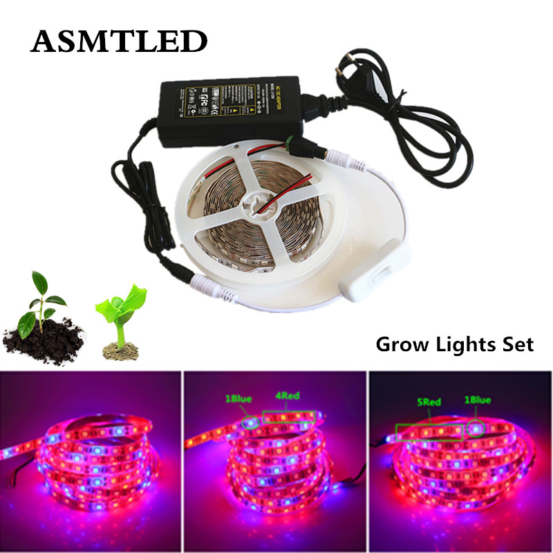 dc12v 1 5m led plant grow light flexible strip set 3 1 4 1 5 1 red blue waterproof power supply. Black Bedroom Furniture Sets. Home Design Ideas