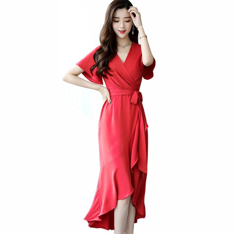 Été nouvelle robe asymétrique femmes vintage à manches courtes longue en mousseline de soie robe décontracté col en v robe vêtements pour femmes
