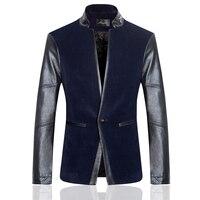 2018 Autumn Winter Men's Blazers High End Corduroy Spliced Genuine Leather Sleeve Suit Blazer Men Plus Blue And Gray