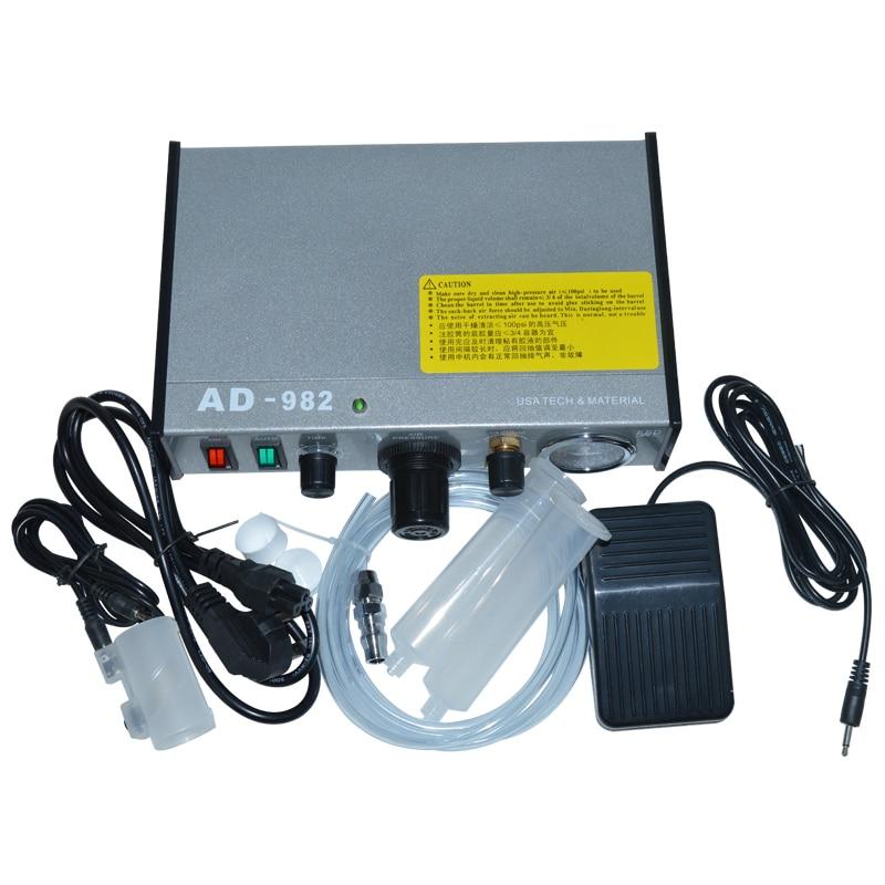220V AD-982 Semi-Auto Glue Dispenser PCB Solder Paste Liquid Controller Dropper Fluid Dispense
