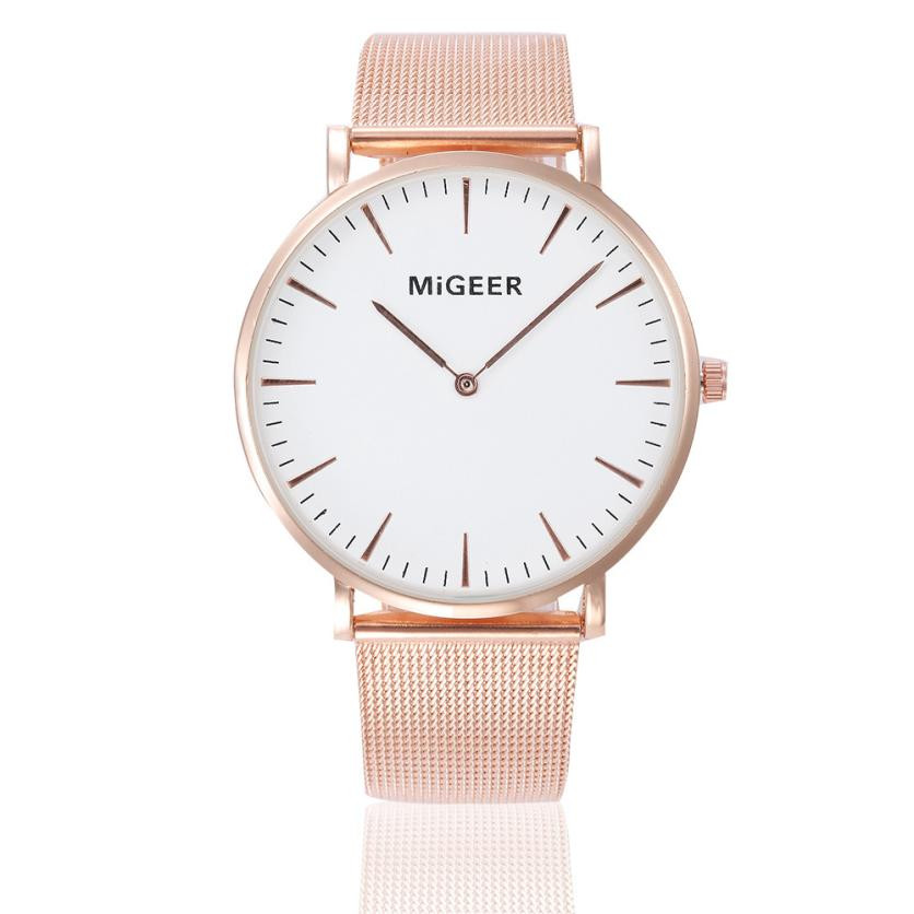MIGEER Women Bracelet Simple Watches Ladies Elegant Stainless Steel Band Quartz Wrist Watch Female Clock Relogio Feminino #Ju essential hot relogio feminino clock womens elegant minimalism rhinestone crystal stainless steel wrist watch feb17