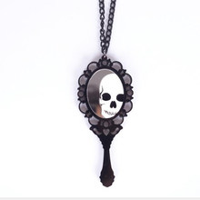 Punk Fashion Skeleton Magic Mirror Pendant Necklaces for Women Vintage Gothic Skull Necklaces Long Sweater Skull Jewelry AN42(China)