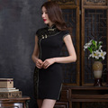 Vestido chino 2016 nuevo verano Retro mejora diaria Cheongsams vestido corto estilo tradicional chino qipao CS40