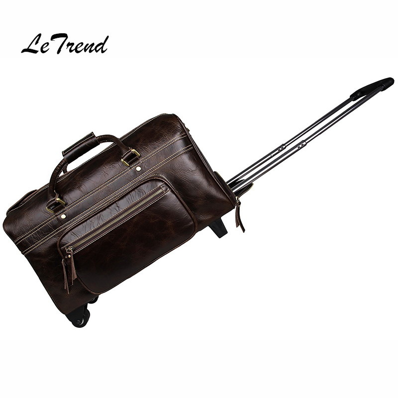 LeTrend High-quality Genuine Leather Men Travel Bag Trolley Vintage Rolling Luggage Suitcase Wheels Retro Carry On Trunk Handbag universal uheels trolley travel suitcase double shoulder backpack bag with rolling multilayer school bag commercial luggage