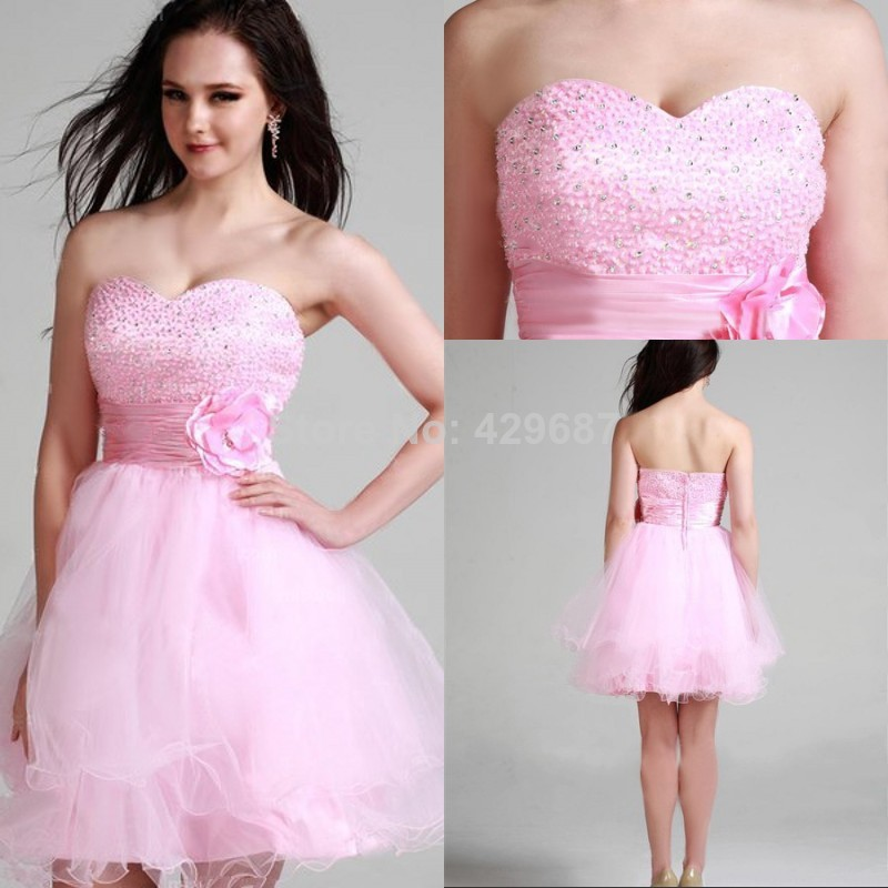 Modest Strapless Homecoming Mini Tulle Beaded Party A Line Cocktail ...