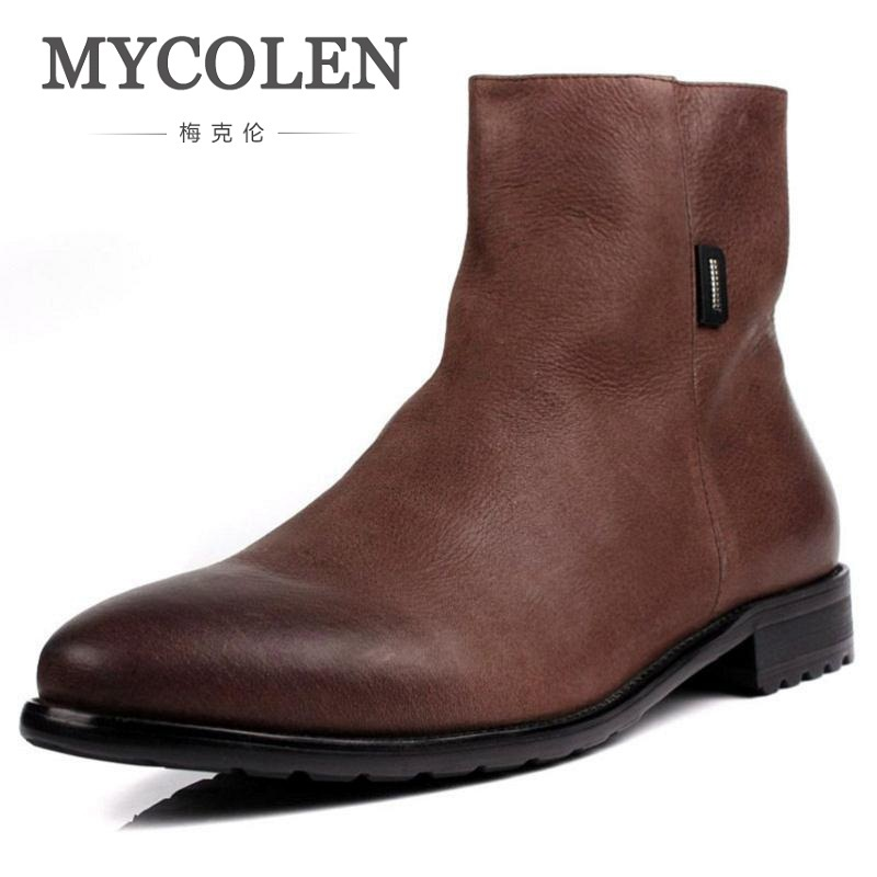 MYCOLEN Men Boots Genuine Leather Italian Black Brown Luxury Fashion Casual Ankle Boots Men Shoes Male For Wedding Business new fashion men luxury brand casual shoes men non slip breathable genuine leather casual shoes ankle boots zapatos hombre 3s88