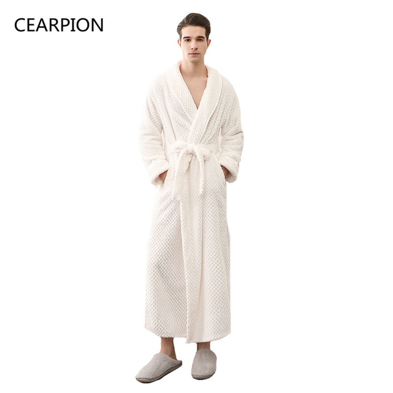 CEARPION Male Winter Thick Warm Robes Male Solid Color Nightgown Flannel High Quality Sleepwear Kimono Bathrobe Gown M XL XXXL