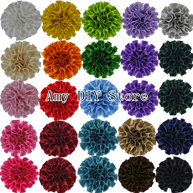 "Free Shipping 100pcs/lot DIY Beauty Multilayer Assorted Colours Decorative 2"" Polyester Flowers Girls Hair Accessories"