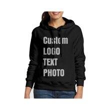 Индивидуальная Женская толстовка с капюшоном принтом логотипа/текста/фото