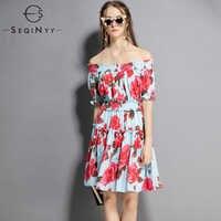 SEQINYY Printed Dress 2018 European New Flowers Rose Printed Elastic Slash Neck Short Sleeve Light Blue Mini Dress