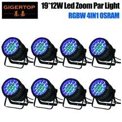 Gigertop 8 Pack TP P83 19x12W os ram wodoodporne światło led zoom par IP65 10 50 stopni kąt regulowany długi projekt Spot w Oświetlenie sceniczne od Lampy i oświetlenie na