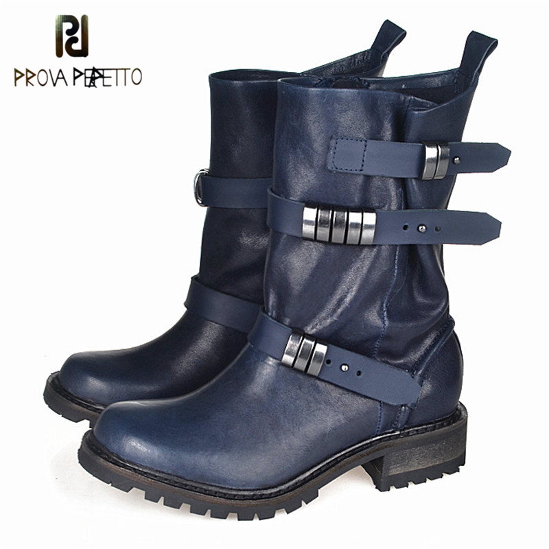 Prova Perfetto Metal Decoration Hand-some Girls Boots Belt Buckle Genuine Leather Mid High Boots Thick Bottom Martin Boot Women prova perfetto fashion round toe low heel mid calf boots feminino buckle belt thick bottom genuine leather women s martin boots