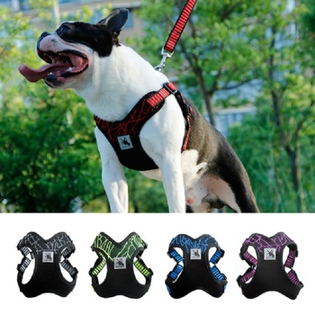 1pc 犬の首輪屋外トレーニングハーネス安全スポーツベスト反射犬ハーネス中大犬ピットブルブルドッグ