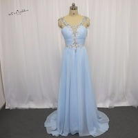 Real Photo Mint Green Long Elegant Prom Dresses Rhinestones Chiffon Formal Evening Gowns Robe De Soiree