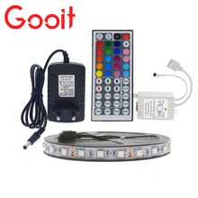 LED Strip Light 5050 RGB 5M 300 LED Non-Waterproof Flexible Strip Light Set + 44Keys Remote Controller + 12V 3A Power Adapter