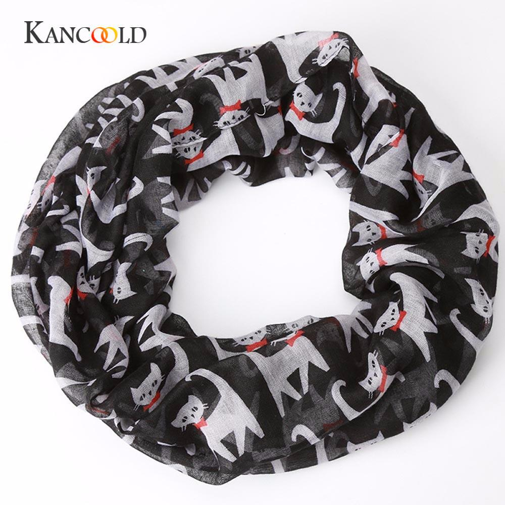 KANCOOLD silk   scarf   shawl friends Unique Style Women Ladies Girl Voile Bow Cat Printed Pattern Silk   Scarf     Wrap   Shawl   Scarf   JAN17