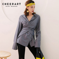 Cheerart Streetwear Wrap Blouse Women Long Sleeve Shirt Loose Stand Collar Asymmetrical Top 2018 Autumn Women Fashion