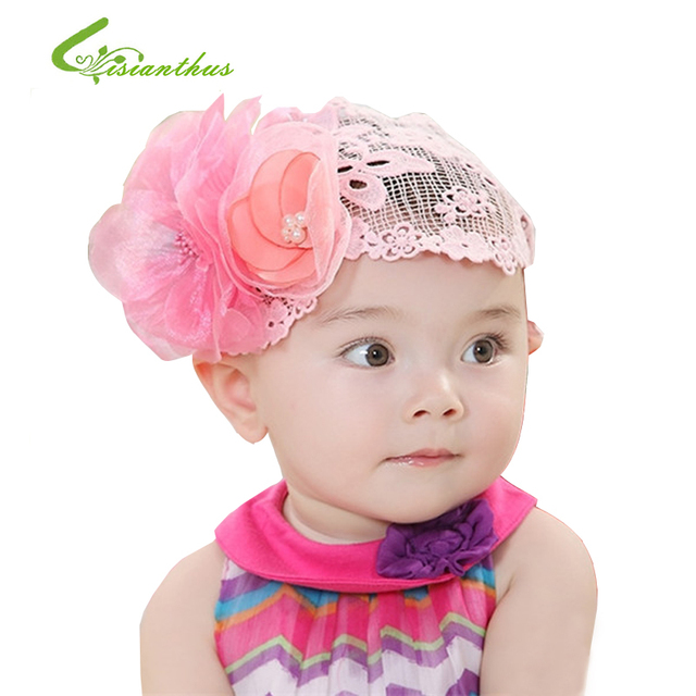 2018 new baby lace flower headband pearl elastic hair accessories