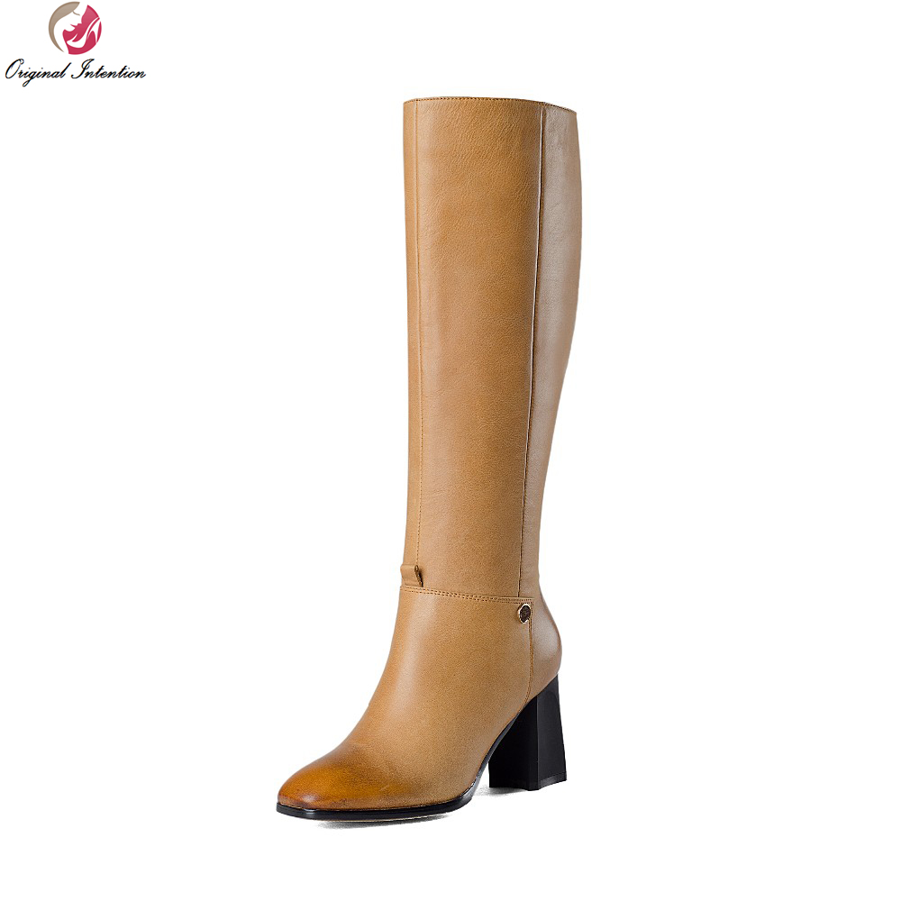 Original Intention High-quality Women Knee High Boots Elegant Square Toe Square Heels Boots Black Yellow Shoes Woman Size 4-10.5 original intention high quality women knee high boots nice pointed toe thin heels boots popular black shoes woman us size 4 10 5