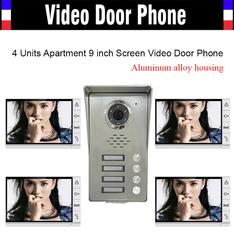 4 Units Apartment households 9 Monitor Video Door phone Video DoorPhone Intercom Aluminum Alloy IR Camera Waterproof Door bell my apartment