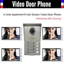 4 Units Apartment households 9″ Monitor Video Door phone Video DoorPhone Intercom Aluminum Alloy IR Camera Waterproof Door bell