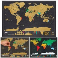2017 New Present Travel Scratch Off Map Personalized Deluxe World Map Scratch Off Foil Layer Coating