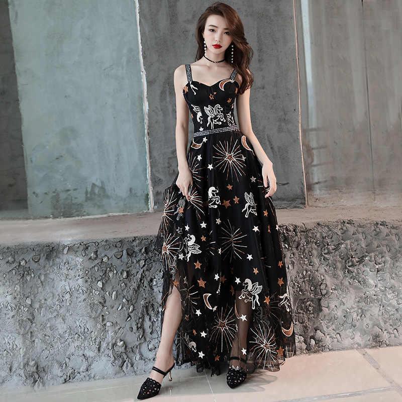 開いた黒のロングステージショーチャイナドレス Vestidos チノパン東洋袍イブニングドレスクラシックパーティードレスサイズ S-XXL