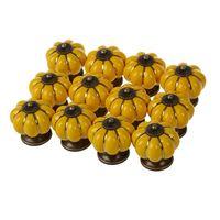 12Pcs Pumpkin Zinc Ceramic Door Knobs Drawer Pull Handle Kitchen Cabinet Cupboard Wardrobe Yellow