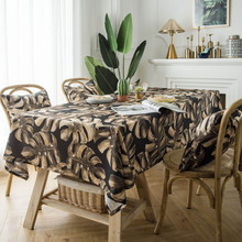 Cotton Coffee Bar Tablecloth Retro Leaves printed Rectangle Table cloth Home Kitchen Runner For Party Banquet Dining