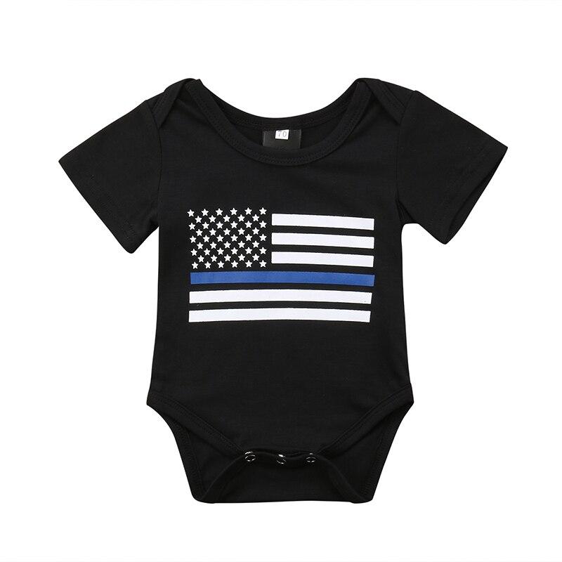 0-18 Mt Neugeborene Jungen Mädchen Kurzarm American Flag Print Baumwolle Strampler Overall Outfit Freizeitkleidung Mangelware