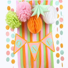 Sunbeauty 9pcs/set One Year Old Birthday Party Decoration For Baby Boy Girl Supplier Pompom Honeycomb Banner