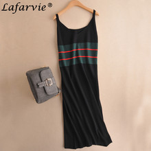 Lafarvie 2017 Fashion Cashmere Blended Summer Dress V-Neck Spaghetti Strap Straight Sleeveless Casual Soft Female Knitted Dress
