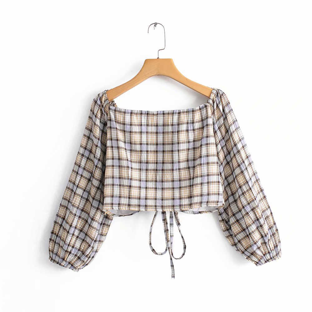 2019 Women Fashion Khaki Short Za Tops Blouse Female Spring Summer Casual Plaid Slash Neck Long Puff Sleeve Shirts blusas mujer