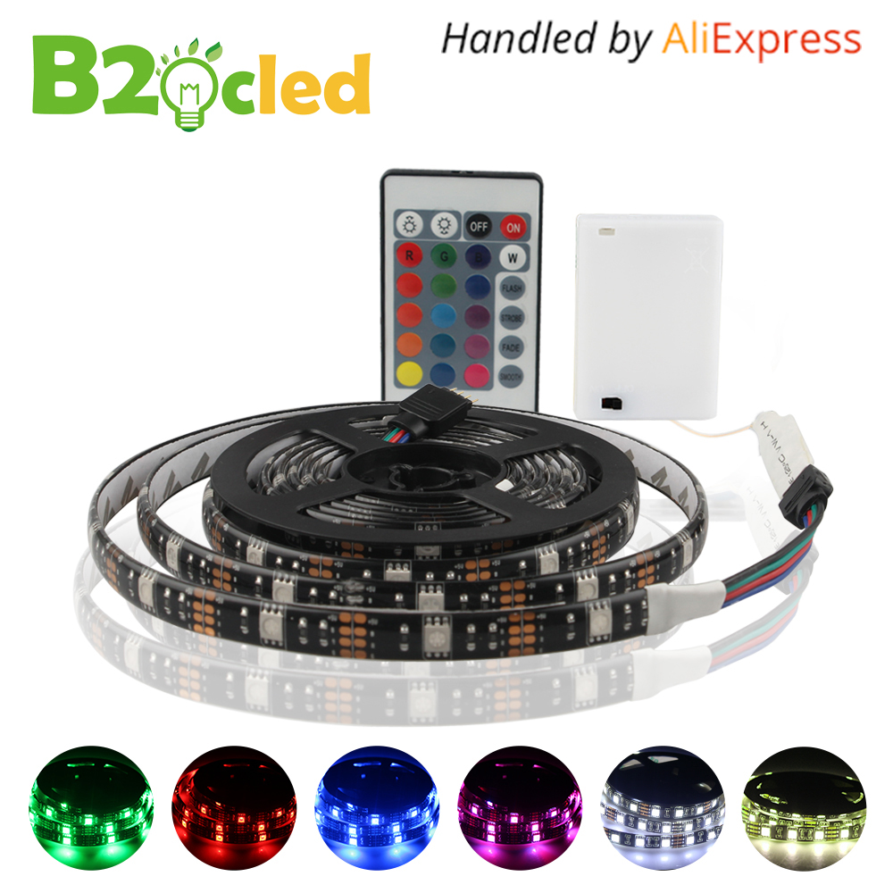 Battery Powered LED Strip Light IP65 Waterproof DC 4.5V 5V 5050 SMD 1M 2M 60LEDS Warm White RGB Flexible LED light IR Controller