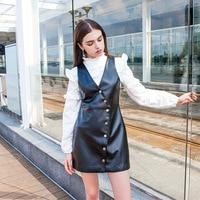 Nieuwe stijl Europese en Amerikaanse wind, V kraag PU kleine lederen, mouwloze vest jurk, jurk hip E0931