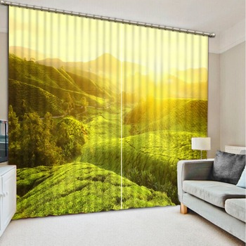 Landscape Scenery Beauty Digital Photo Printing Blackout 3D Curtains for Living Room fresh green curtains