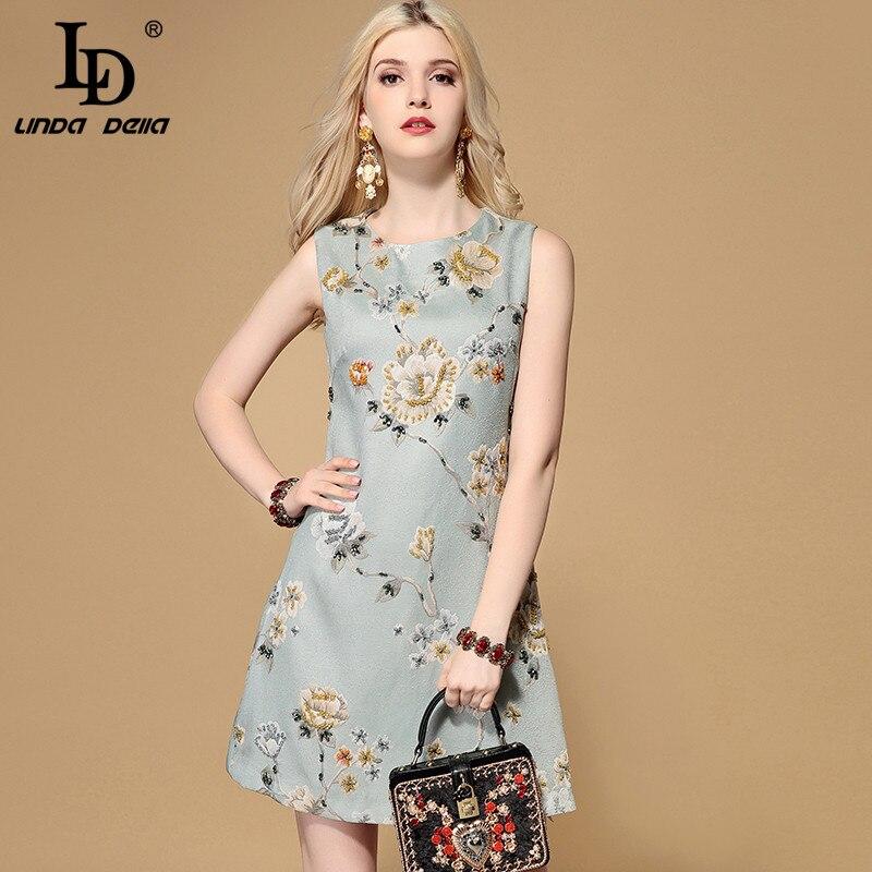 LD LINDA DELLA 2019 Fashion Runway Herbst Kleid frauen Ärmellose Kristall Perlen Floral Jacquard Kurze Vintage Elegante Kleid-in Kleider aus Damenbekleidung bei  Gruppe 1