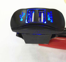 New car modified car charger interface with a blue LED light twin USB3.1A