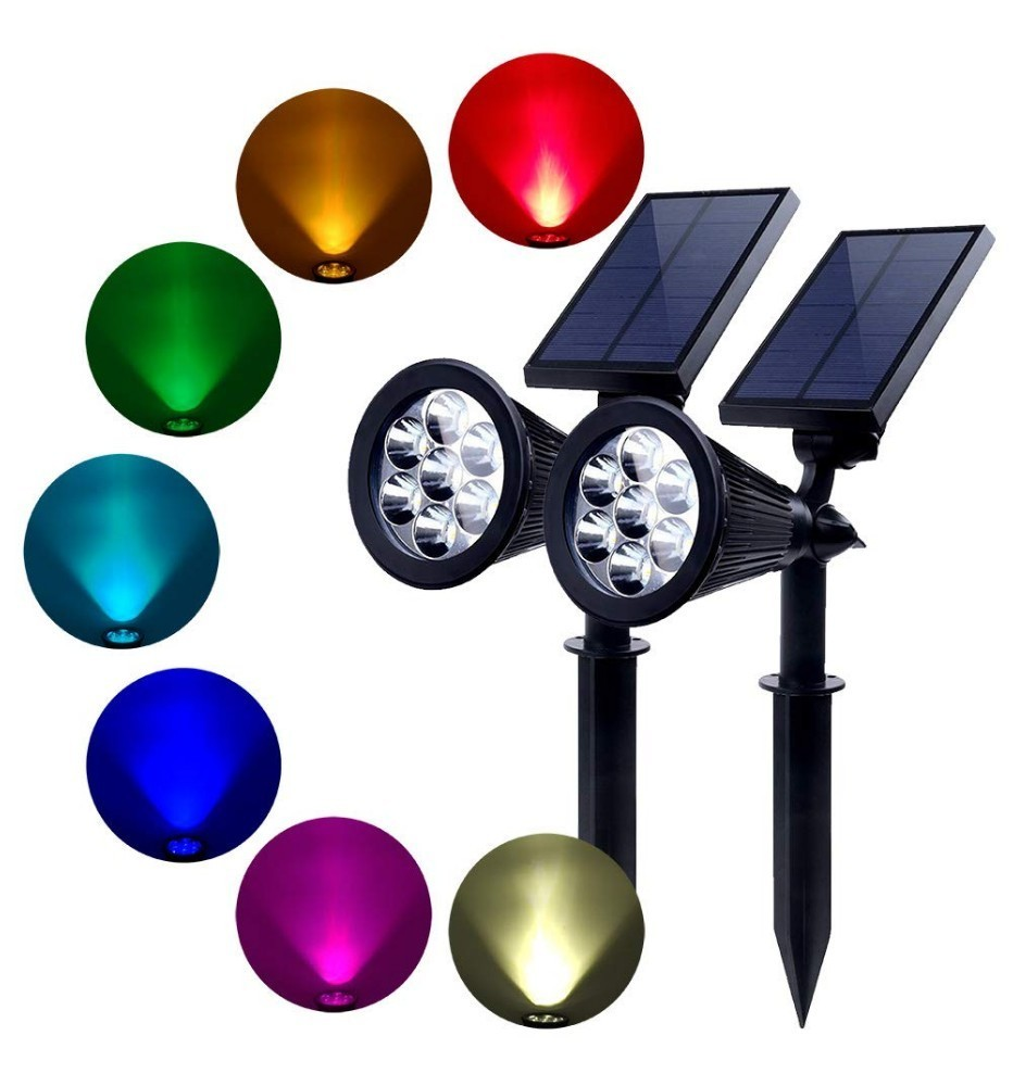 Binval 7 Led Solar Spotlights Adjustable Color-Changing Waterproof Garden Lawn Lamp Landscape Spot Lights Porch Light