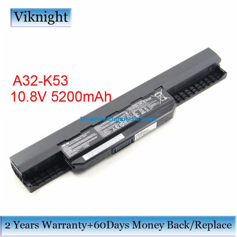 Original A32-K53 Battery For Asus A43 A53 K43 K53 X43 X44 A83S A31-K53 A41-K53 A42-K53 Laptop Battery 10.8V 5200mAh 6 Cells new genuine 14 4v 5200mah 74wh 8 cells a42 g55 notebook li ion battery pack for asus g55 g55v g55vm g55vw laptop