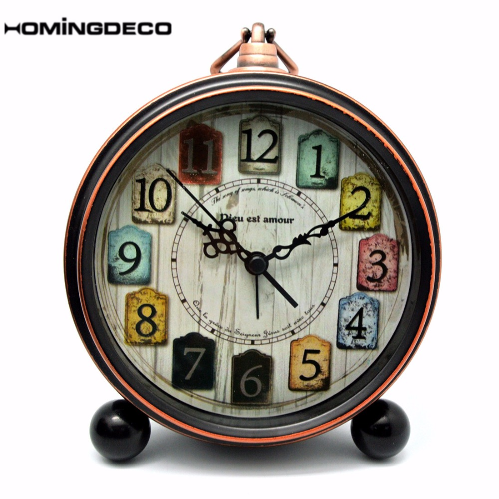 Homingdeco Vintage Desktop Desk Alarm Clock Kids European Style Circular Metal Silent Snooze Table Clock For Children Bedroom
