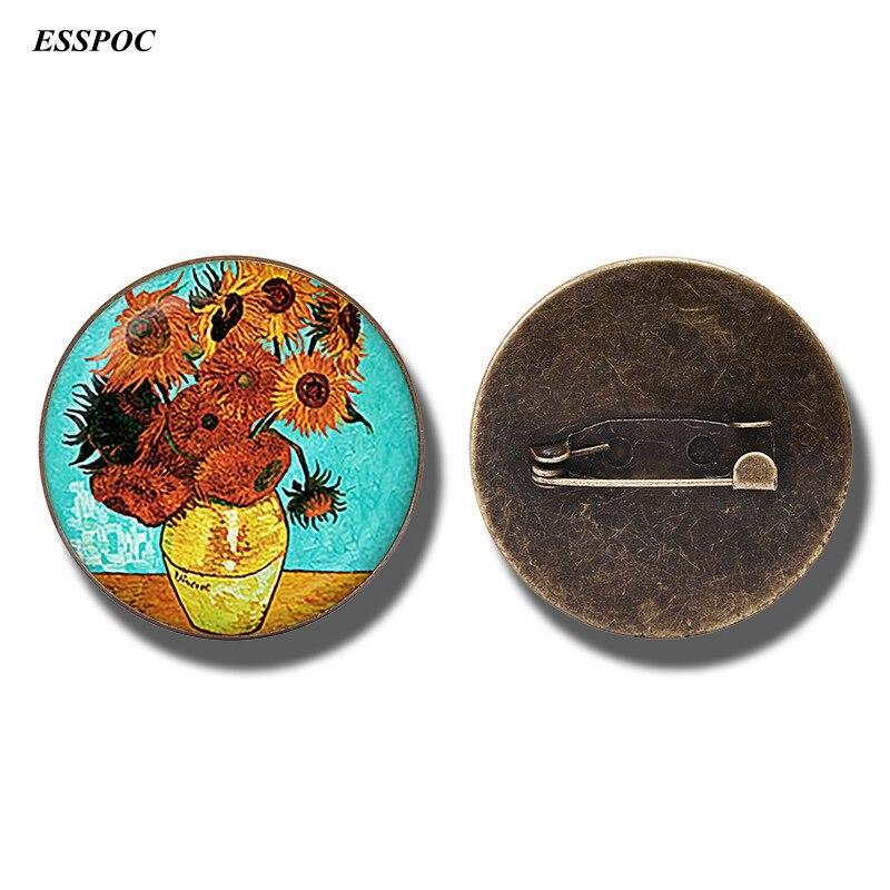 Van Gogh Sunflowers Art Vintage Bronze Brooch Glass Cabochon Pin Jewelry Van Gogh Badge